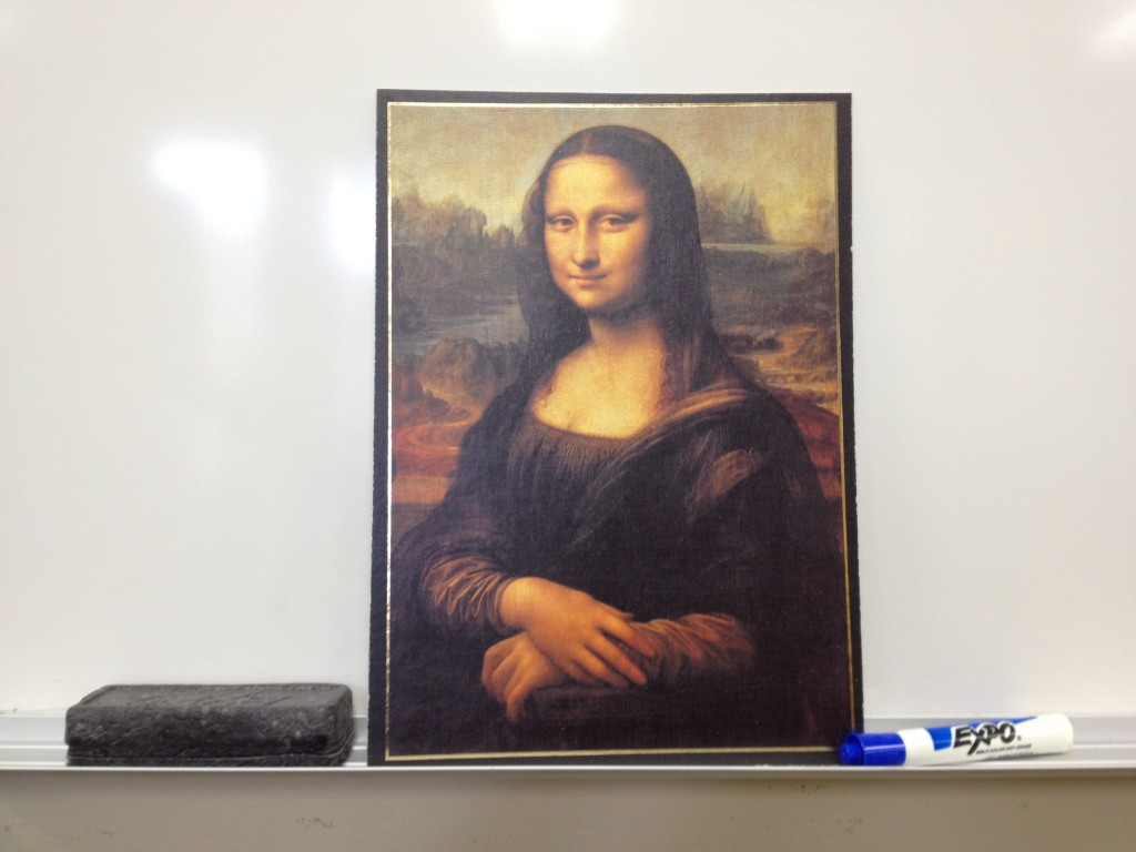 Mona Lisa Print on a White Board Tray