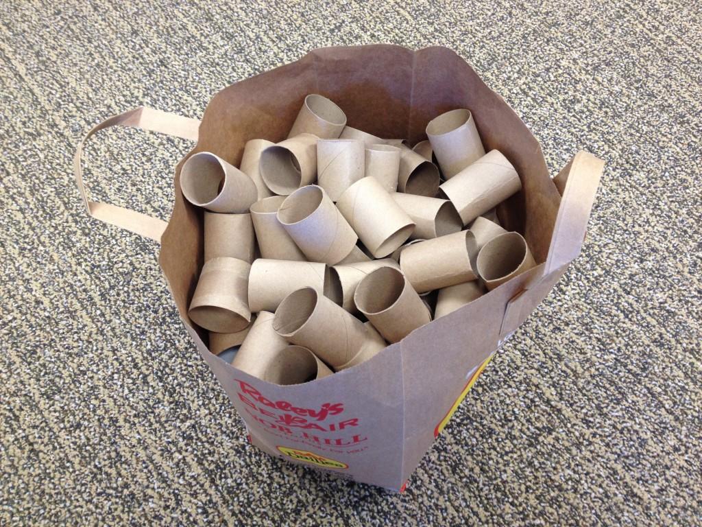 Bag of cardboard tubes