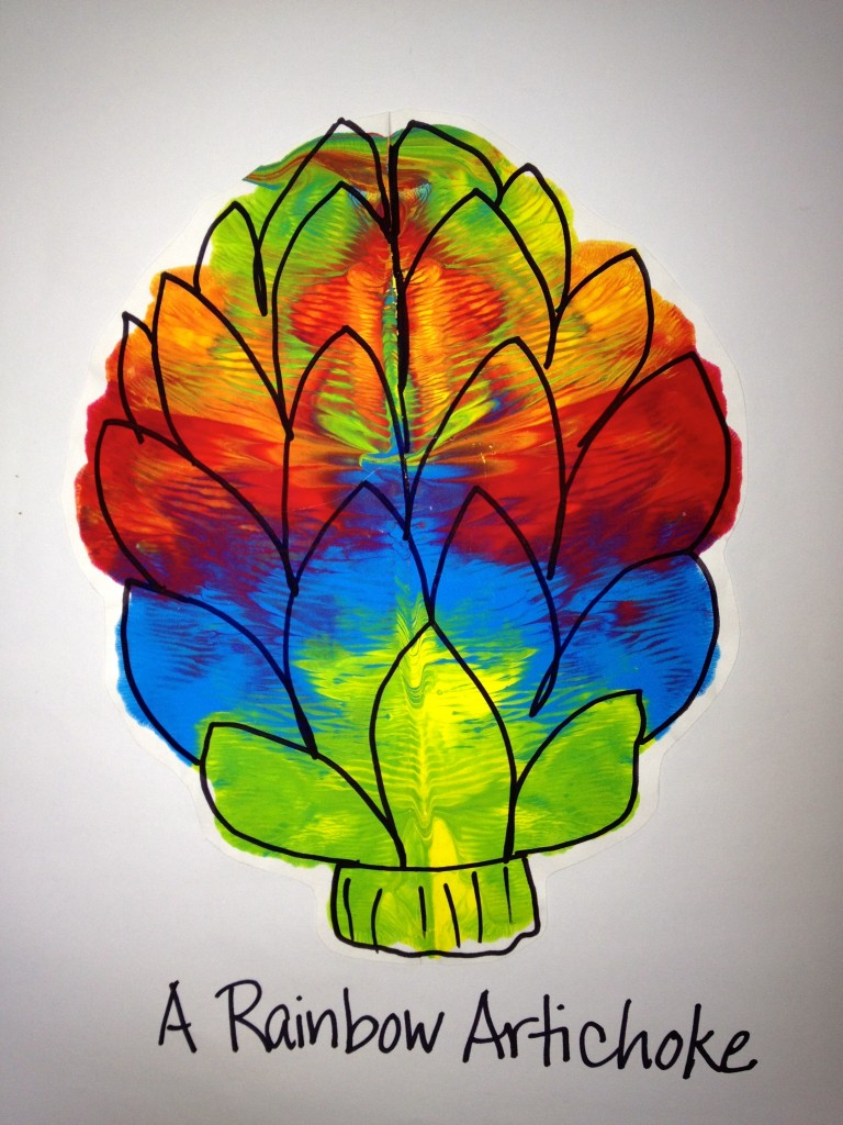 K Rorschach Print - a rainbow artichoke
