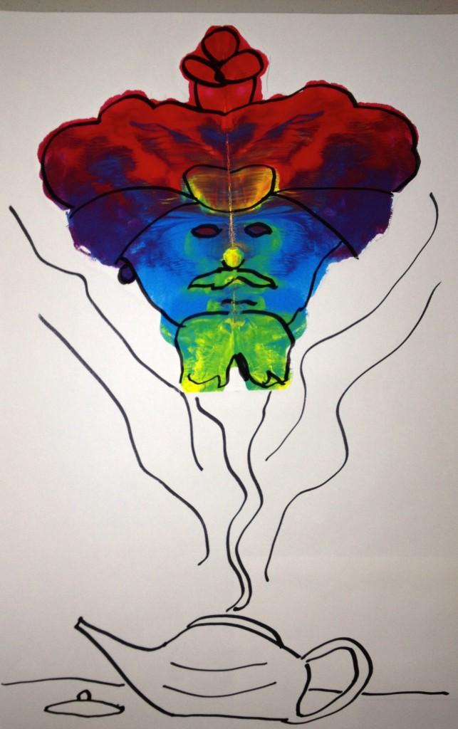 K Rorschach Print - a genie in a lamp
