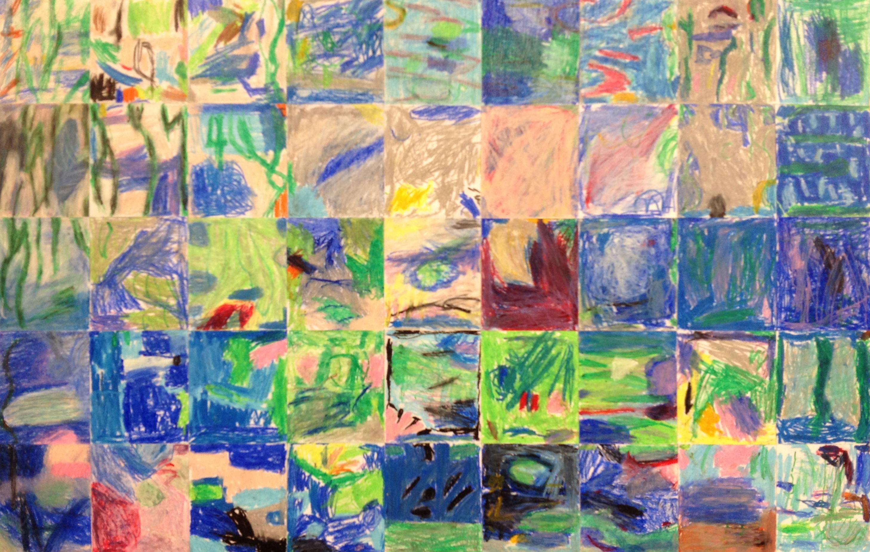 Kindergarten Masterpiece Mosaic Of Waterlilies By Claude Monet