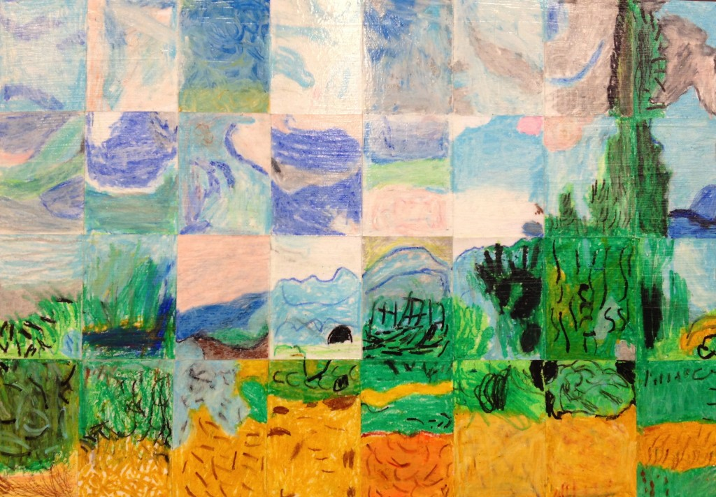 "1st Grade Masterpiece Mosaic of ""Wheatfield with Cypresses"" by Vincent Van Gogh"