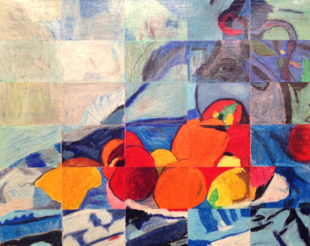 "3rd Grade Masterpiece Mosaic of ""Fruit and a Jug on a Table"" by Paul Cezanne"