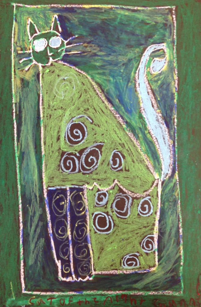 Oil Pastel Cat inspired by Laurel Burch