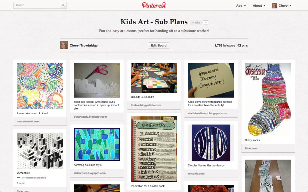 My Pinterest Board for Sub Plans
