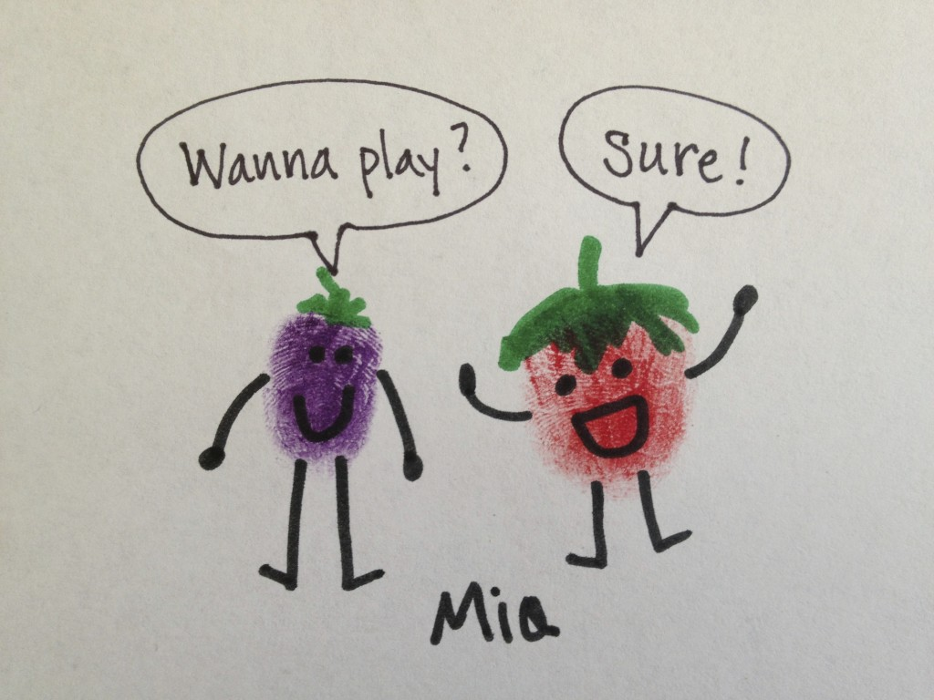 Berry Thumbprint People Cartoon
