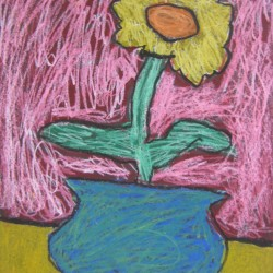 Oil Pastel Flower Inspired by Van Gogh