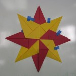 Folded paper star demo on white board