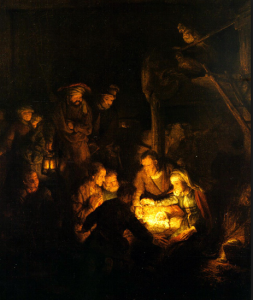 Nativity Painting by Rembrandt