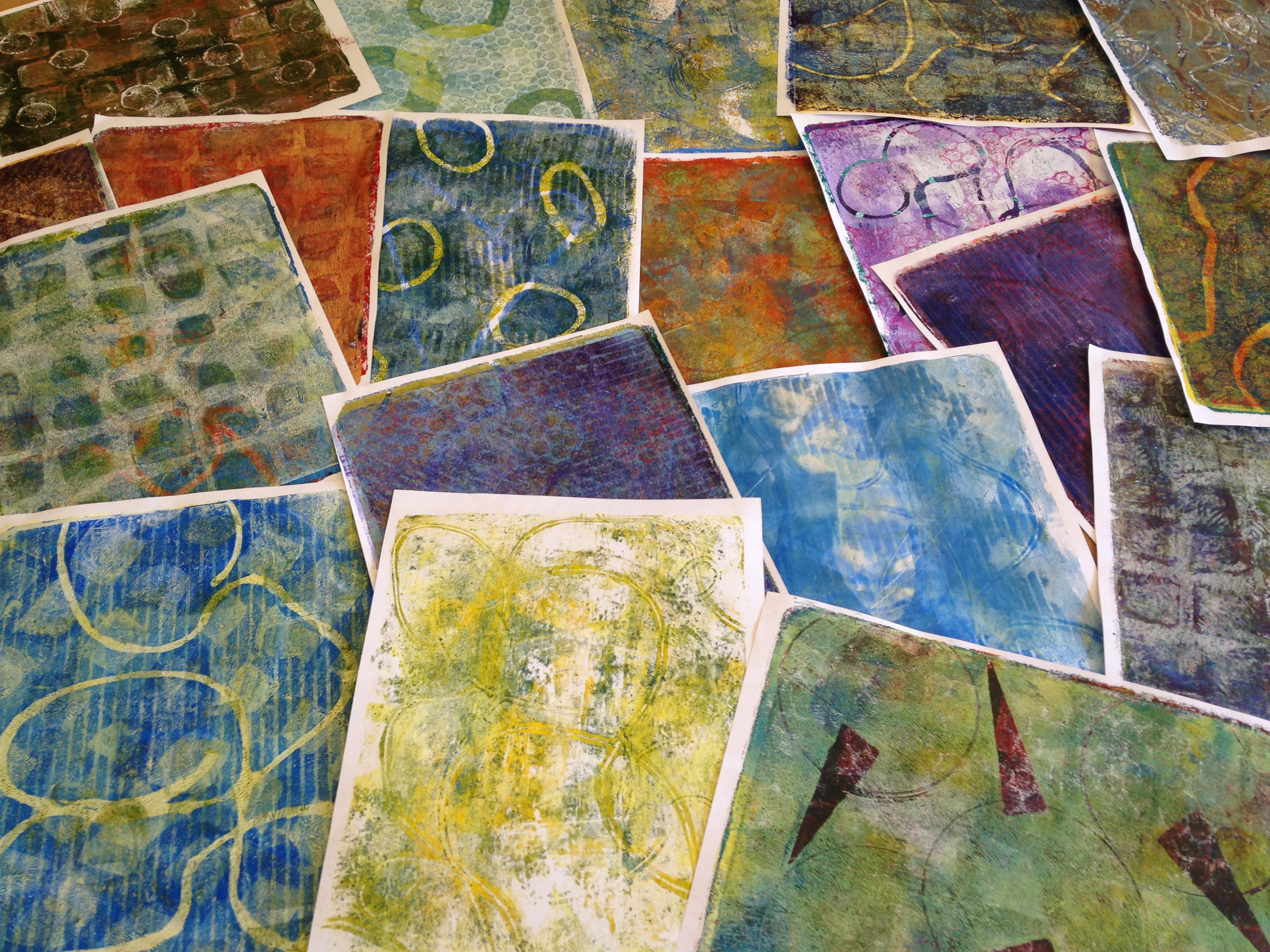 Monoprints made with a Gelli Arts gel printing plate