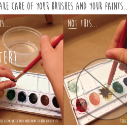 """Take Care of Your Brushes and Your Paints""... For a printable pdf visit: http://www.teacherspayteachers.com/Product/No-More-Bad-Hair-Days-for-Your-Paintbrush-1246706"