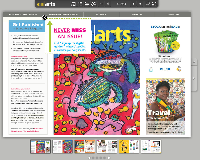 School Arts magazine digital edition sign-up form
