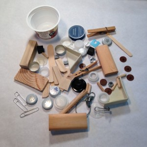 Assorted 'found' objects for sculpture inspired by Louise Nevelson