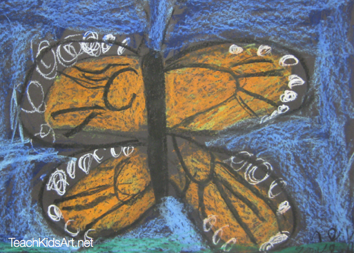 Monarch Butterfly with Oil Pastels