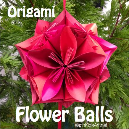 Origami flower balls teachkidsart origami flower balls mightylinksfo