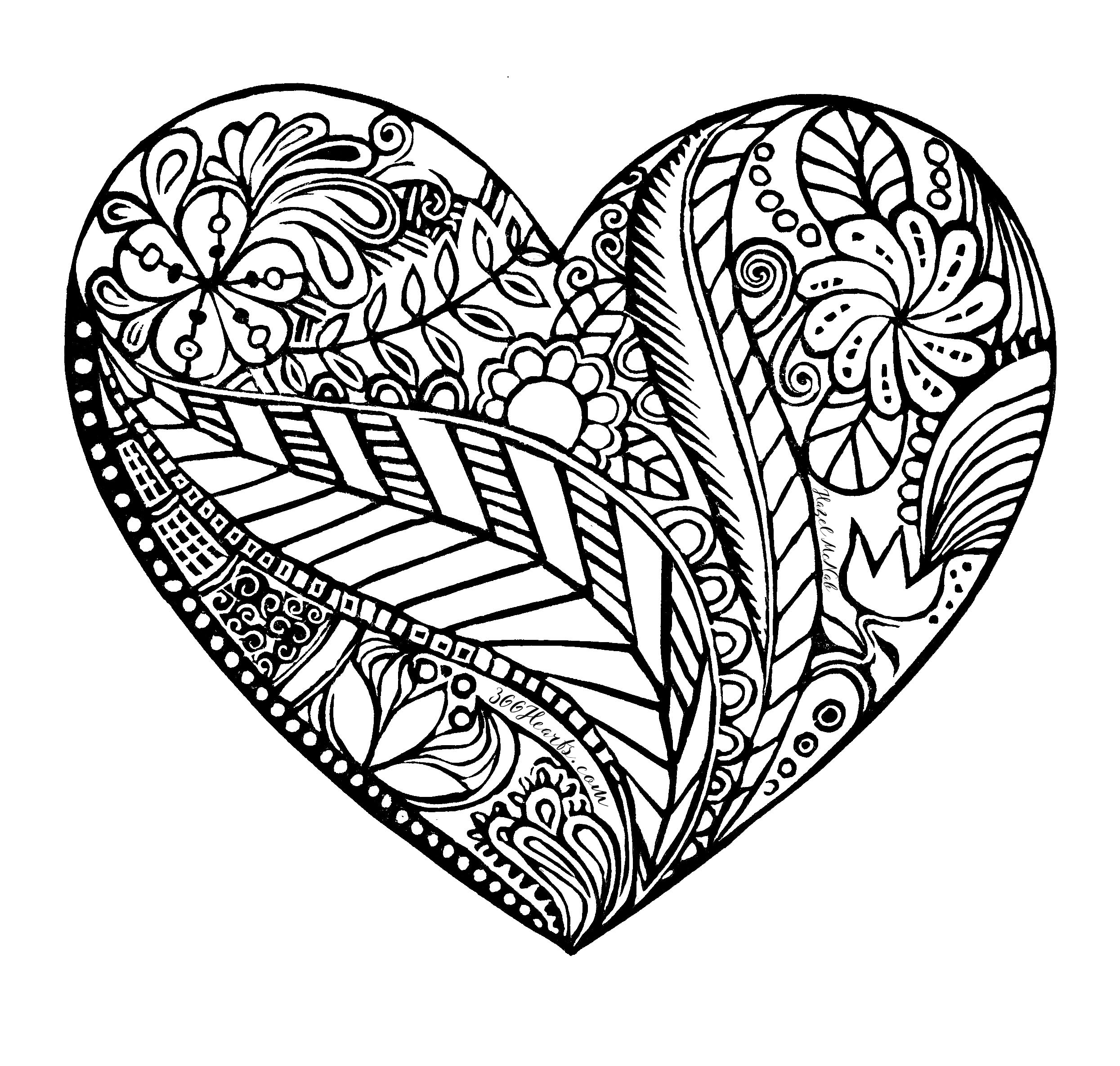 A heart to color by 366Hearts.com