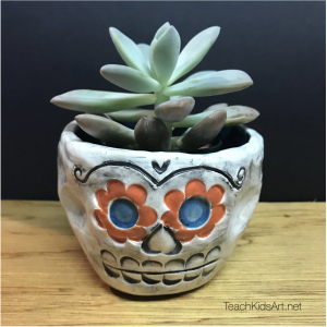 Ceramic Sugar Skull Planter