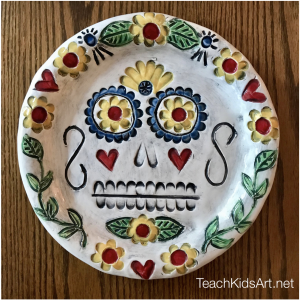 Ceramic Sugar Skull Plate for Dia de los Muertos using colorful glazes