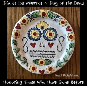 Ceramic Sugar Skull Plate for Dia de los Muertos