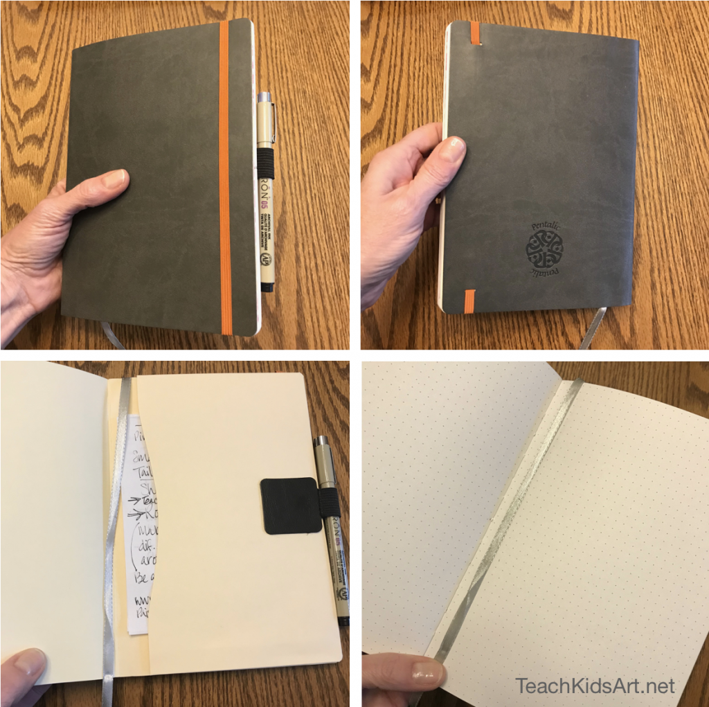 My Pentalic Dot Grid Sketchbook has some great features, like its elastic closure, pocket inside the back cover, and attached bookmark. (The awesome elastic pen holder was added by me.)